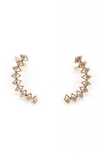 海外ファッションや大人カジュアルにオススメなインポートセレクトアイテムL.A.直輸入のMulti Triangle Patterned Cuff Earring ラインストーン・カフピアス
