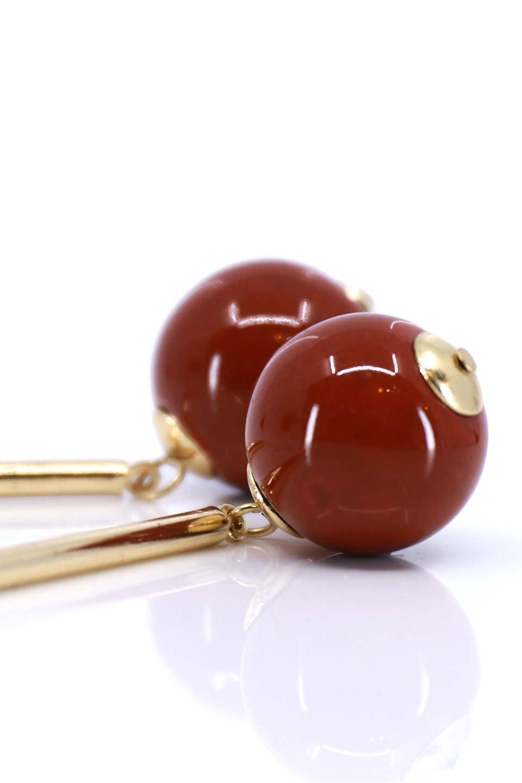 L.A.直輸入のCeramicBallDropEarring(Burgundy)セラミックボール・ドロップピアス大人カジュアルに最適な海外ファッションのothers(その他インポートアイテム)のアクセサリーやピアス。天然サンゴのようなセラミックボールが可愛いドロップピアス。艶々としたボールが揺れる大人っぽいデザインのピアス。/main-2
