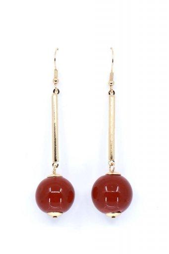 海外ファッションや大人カジュアルにオススメなインポートセレクトアイテムL.A.直輸入のCeramic Ball Drop Earring (Burgundy) セラミックボール・ドロップピアス