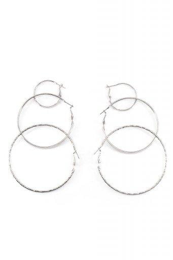 海外ファッションや大人カジュアルにオススメなインポートセレクトアイテムL.A.直輸入のSpring Locked Metal Hoop Earring Set フープピアス・3点セット