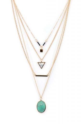 海外ファッションや大人カジュアルにオススメなインポートセレクトアイテムL.A.直輸入のLayered Pendant Necklace (TUQ) 4連レイヤード・ドロップネックレス