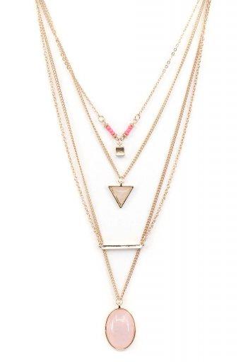 海外ファッションや大人カジュアルにオススメなインポートセレクトアイテムL.A.直輸入のLayered Pendant Necklace (PNK) 4連レイヤード・ドロップネックレス