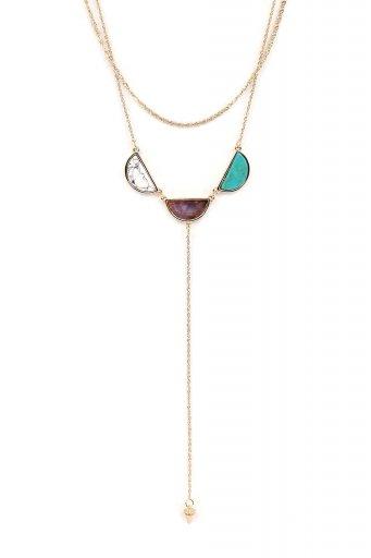 海外ファッションや大人カジュアルにオススメなインポートセレクトアイテムL.A.直輸入のCircle Stone Y-Line Necklace (PPL) 3連ストーン・Yラインネックレス