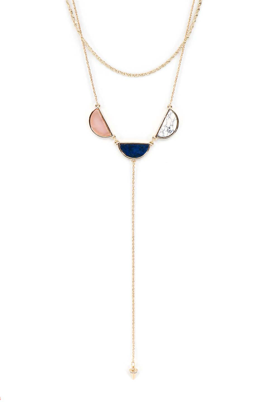 L.A.直輸入のCircleStoneY-LineNecklace(BLU)3連ストーン・Yラインネックレス大人カジュアルに最適な海外ファッションのothers(その他インポートアイテム)のアクセサリーやネックレス。3色のストーンをあしらったYラインネックレス。細身のチェーンと半円モチーフのペンダントがエレガントな雰囲気。