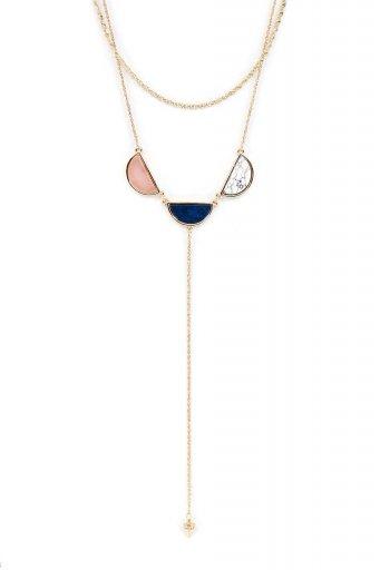 海外ファッションや大人カジュアルにオススメなインポートセレクトアイテムL.A.直輸入のCircle Stone Y-Line Necklace (BLU) 3連ストーン・Yラインネックレス