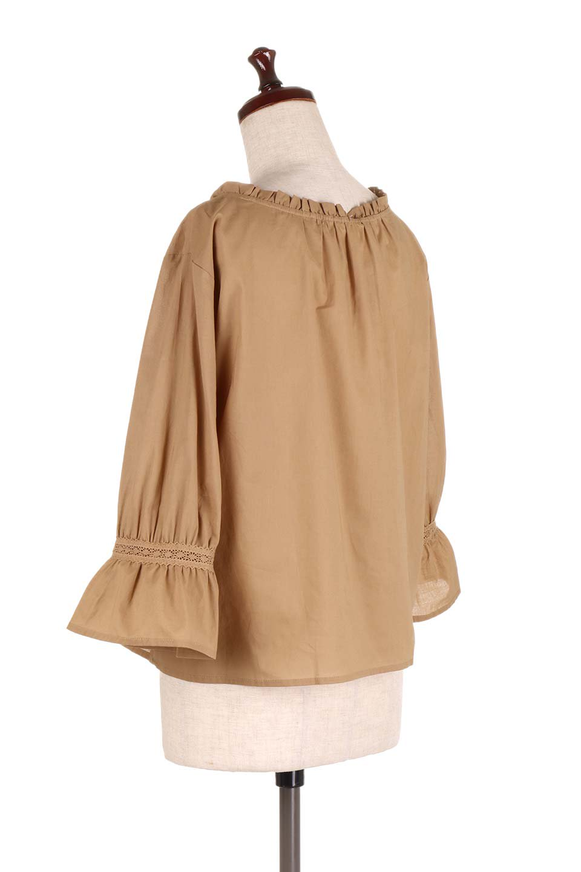 FrilledStandCollarBlouseフリルスタンドカラー・刺繍ブラウス大人カジュアルに最適な海外ファッションのothers(その他インポートアイテム)のトップスやシャツ・ブラウス。低めのフリルスタンドカラーがポイントの刺繍ブラウス。人気のフリルスタンドカラーを首元が広めのボートネック風にしたアイテム。/main-13