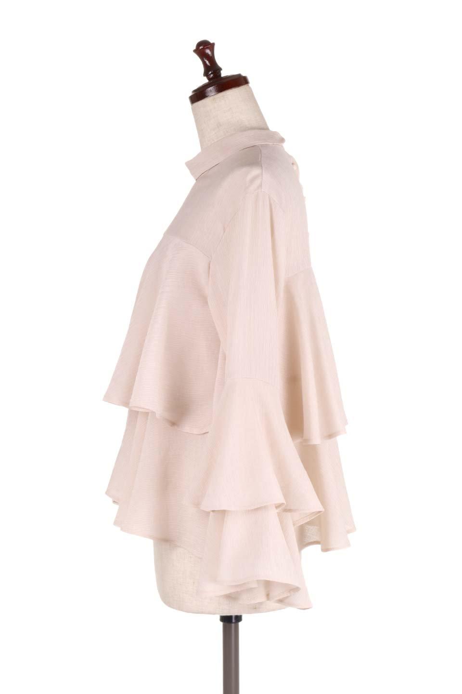 BellSleeveTieredBlouseベルスリーブ・ティアードブラウス大人カジュアルに最適な海外ファッションのothers(その他インポートアイテム)のトップスやシャツ・ブラウス。大きめに段を取ったフリルが特徴のブラウス。適度なショート丈で春っぽいコーディネートができます。/main-7