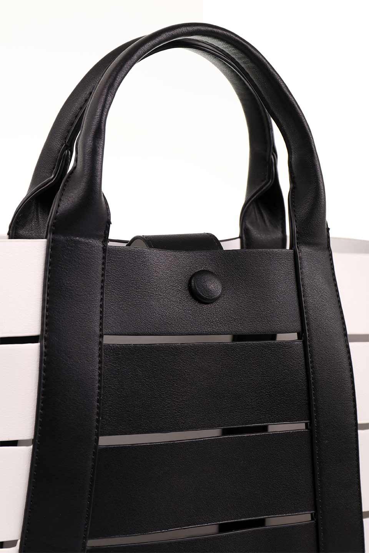 meliebiancoのCamille(Black)ポーチ付き・バイカラートートバッグ/海外ファッション好きにオススメのインポートバッグとかばん、MelieBianco(メリービアンコ)のバッグやトートバッグ。便利なインナーバッグが付いた涼しげなトートバッグ。ボーダー柄にも見えるシースルーのデザインがとても可愛いバッグです。/main-12