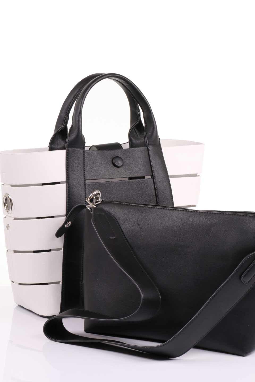 meliebiancoのCamille(Black)ポーチ付き・バイカラートートバッグ/海外ファッション好きにオススメのインポートバッグとかばん、MelieBianco(メリービアンコ)のバッグやトートバッグ。便利なインナーバッグが付いた涼しげなトートバッグ。ボーダー柄にも見えるシースルーのデザインがとても可愛いバッグです。/main-17