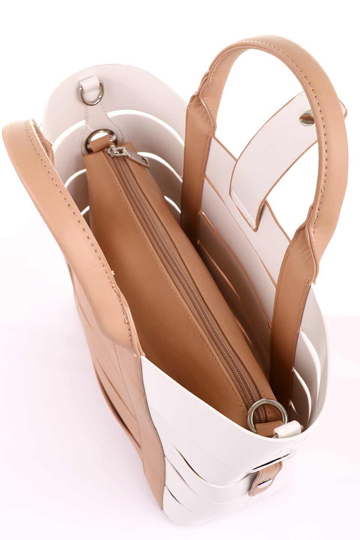 meliebiancoのCamille(Nude)ポーチ付き・バイカラートートバッグ/海外ファッション好きにオススメのインポートバッグとかばん、MelieBianco(メリービアンコ)のバッグやトートバッグ。便利なインナーバッグが付いた涼しげなトートバッグ。ボーダー柄にも見えるシースルーのデザインがとても可愛いバッグです。/main-15