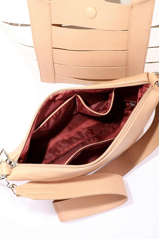 meliebiancoのCamille(Nude)ポーチ付き・バイカラートートバッグ/海外ファッション好きにオススメのインポートバッグとかばん、MelieBianco(メリービアンコ)のバッグやトートバッグ。便利なインナーバッグが付いた涼しげなトートバッグ。ボーダー柄にも見えるシースルーのデザインがとても可愛いバッグです。/main-18