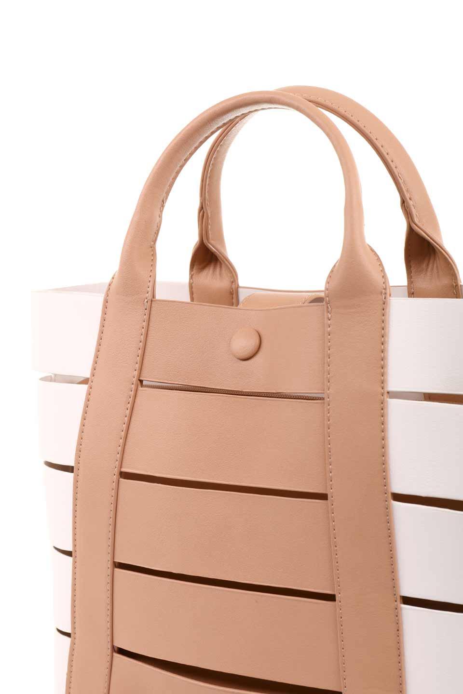 meliebiancoのCamille(Nude)ポーチ付き・バイカラートートバッグ/海外ファッション好きにオススメのインポートバッグとかばん、MelieBianco(メリービアンコ)のバッグやトートバッグ。便利なインナーバッグが付いた涼しげなトートバッグ。ボーダー柄にも見えるシースルーのデザインがとても可愛いバッグです。/main-9
