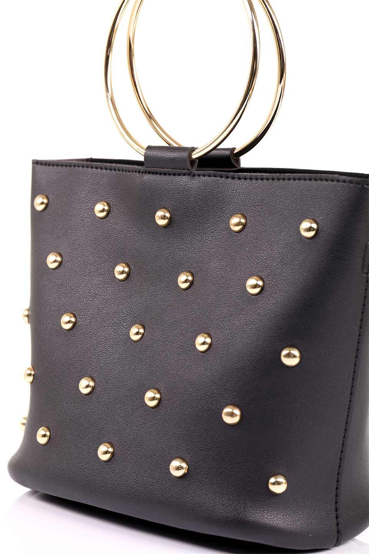 meliebiancoのMakenzie(Black)ラウンドスタッズ付・リングハンドバッグ/海外ファッション好きにオススメのインポートバッグとかばん、MelieBianco(メリービアンコ)のバッグやハンドバッグ。大きめのラウンドスタッズが可愛いリングバッグ。小ぶりなサイズ感にゴールドのリングハンドルが可愛いバッグです。/main-10