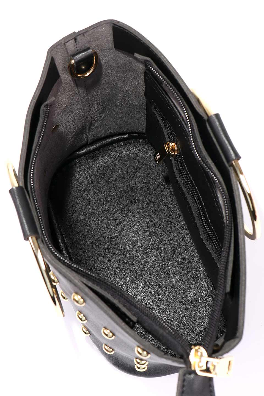 meliebiancoのMakenzie(Black)ラウンドスタッズ付・リングハンドバッグ/海外ファッション好きにオススメのインポートバッグとかばん、MelieBianco(メリービアンコ)のバッグやハンドバッグ。大きめのラウンドスタッズが可愛いリングバッグ。小ぶりなサイズ感にゴールドのリングハンドルが可愛いバッグです。/main-15