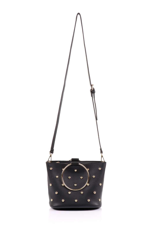meliebiancoのMakenzie(Black)ラウンドスタッズ付・リングハンドバッグ/海外ファッション好きにオススメのインポートバッグとかばん、MelieBianco(メリービアンコ)のバッグやハンドバッグ。大きめのラウンドスタッズが可愛いリングバッグ。小ぶりなサイズ感にゴールドのリングハンドルが可愛いバッグです。/main-8