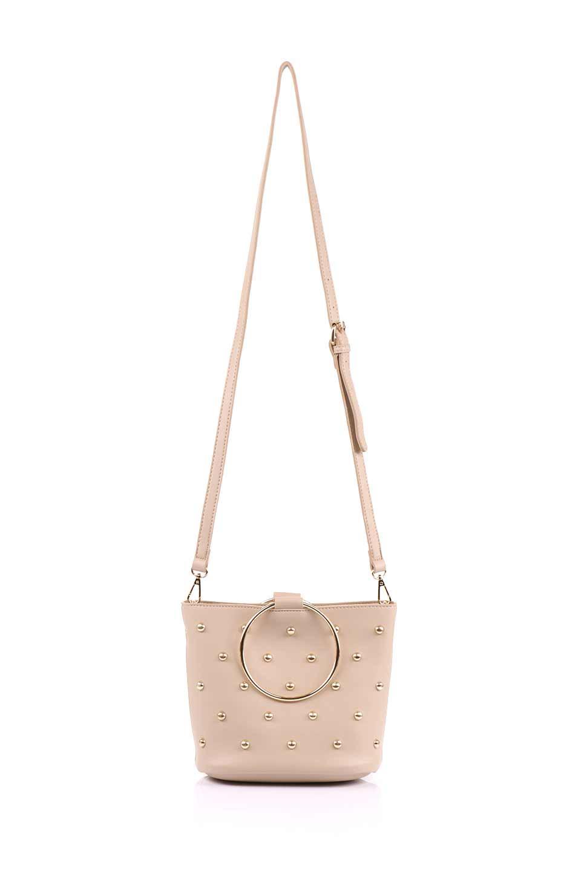 meliebiancoのMakenzie(Nude)ラウンドスタッズ付・リングハンドバッグ/海外ファッション好きにオススメのインポートバッグとかばん、MelieBianco(メリービアンコ)のバッグやハンドバッグ。大きめのラウンドスタッズが可愛いリングバッグ。小ぶりなサイズ感にゴールドのリングハンドルが可愛いバッグです。/main-7