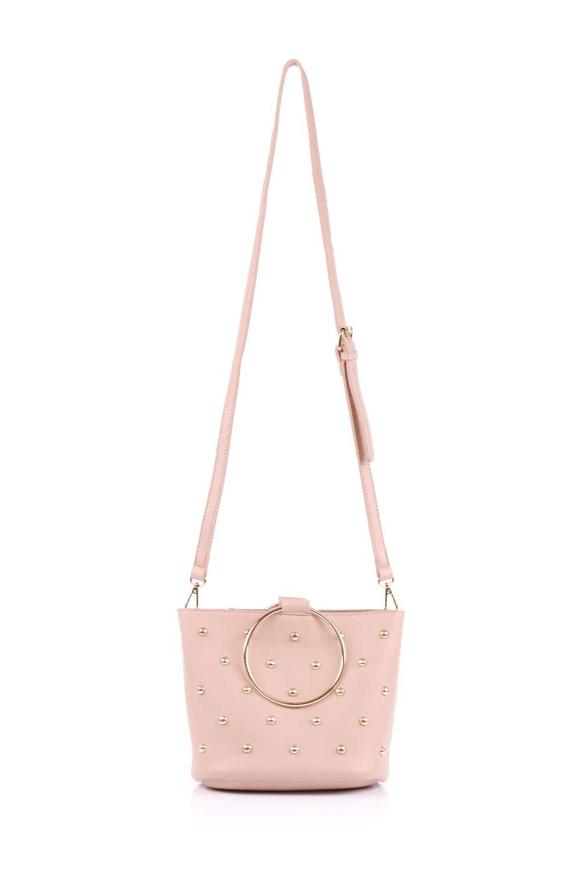 meliebiancoのMakenzie(Blush)ラウンドスタッズ付・リングハンドバッグ/海外ファッション好きにオススメのインポートバッグとかばん、MelieBianco(メリービアンコ)のバッグやハンドバッグ。大きめのラウンドスタッズが可愛いリングバッグ。小ぶりなサイズ感にゴールドのリングハンドルが可愛いバッグです。/main-6