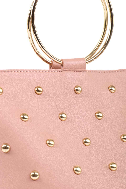 meliebiancoのMakenzie(Blush)ラウンドスタッズ付・リングハンドバッグ/海外ファッション好きにオススメのインポートバッグとかばん、MelieBianco(メリービアンコ)のバッグやハンドバッグ。大きめのラウンドスタッズが可愛いリングバッグ。小ぶりなサイズ感にゴールドのリングハンドルが可愛いバッグです。/main-7