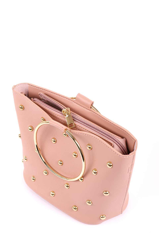 meliebiancoのMakenzie(Blush)ラウンドスタッズ付・リングハンドバッグ/海外ファッション好きにオススメのインポートバッグとかばん、MelieBianco(メリービアンコ)のバッグやハンドバッグ。大きめのラウンドスタッズが可愛いリングバッグ。小ぶりなサイズ感にゴールドのリングハンドルが可愛いバッグです。/main-9