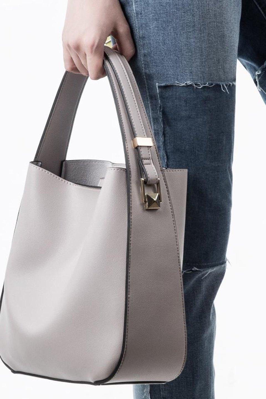 meliebiancoのEmery(Bone)スクエアシルエット・ハンドバッグ/海外ファッション好きにオススメのインポートバッグとかばん、MelieBianco(メリービアンコ)のバッグやハンドバッグ。スッキリデザインのシンプルハンドバッグ。iPadなら縦でも横でもOK。/main-5