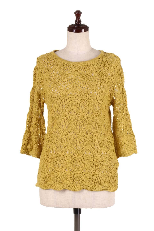 CrochetKnitHalfSleevetopカギ編みニットトップス大人カジュアルに最適な海外ファッションのothers(その他インポートアイテム)のトップスやニット・セーター。春に着たいカギ編みニットのトップス。ゆるく編み込んだニットの透け感が涼しげで初夏まで着まわせそうなニットソー。/main-10