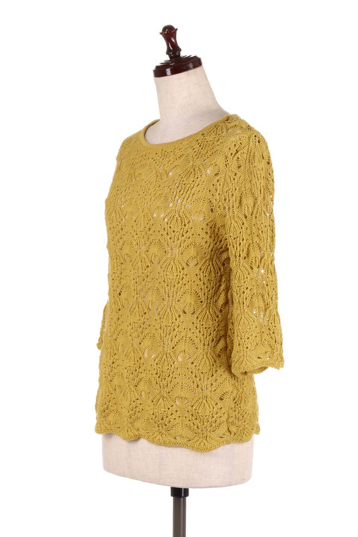 CrochetKnitHalfSleevetopカギ編みニットトップス大人カジュアルに最適な海外ファッションのothers(その他インポートアイテム)のトップスやニット・セーター。春に着たいカギ編みニットのトップス。ゆるく編み込んだニットの透け感が涼しげで初夏まで着まわせそうなニットソー。/main-11