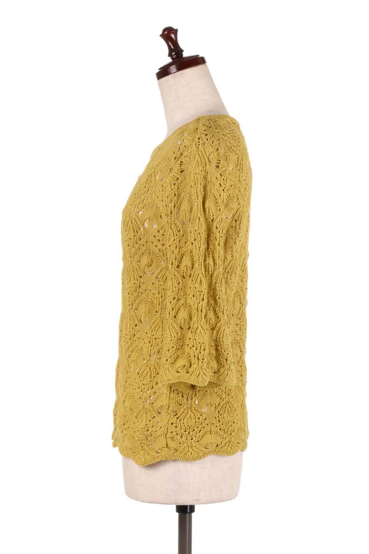 CrochetKnitHalfSleevetopカギ編みニットトップス大人カジュアルに最適な海外ファッションのothers(その他インポートアイテム)のトップスやニット・セーター。春に着たいカギ編みニットのトップス。ゆるく編み込んだニットの透け感が涼しげで初夏まで着まわせそうなニットソー。/main-12