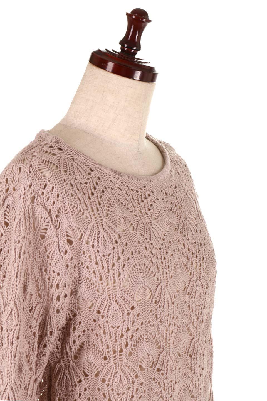 CrochetKnitHalfSleevetopカギ編みニットトップス大人カジュアルに最適な海外ファッションのothers(その他インポートアイテム)のトップスやニット・セーター。春に着たいカギ編みニットのトップス。ゆるく編み込んだニットの透け感が涼しげで初夏まで着まわせそうなニットソー。/main-20