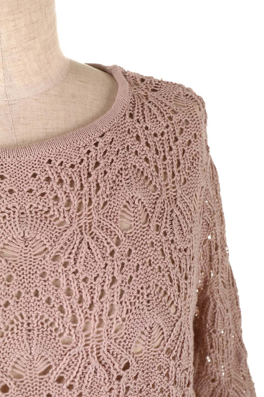 CrochetKnitHalfSleevetopカギ編みニットトップス大人カジュアルに最適な海外ファッションのothers(その他インポートアイテム)のトップスやニット・セーター。春に着たいカギ編みニットのトップス。ゆるく編み込んだニットの透け感が涼しげで初夏まで着まわせそうなニットソー。/main-21