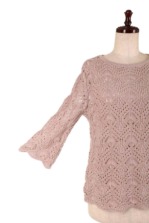 CrochetKnitHalfSleevetopカギ編みニットトップス大人カジュアルに最適な海外ファッションのothers(その他インポートアイテム)のトップスやニット・セーター。春に着たいカギ編みニットのトップス。ゆるく編み込んだニットの透け感が涼しげで初夏まで着まわせそうなニットソー。/main-23