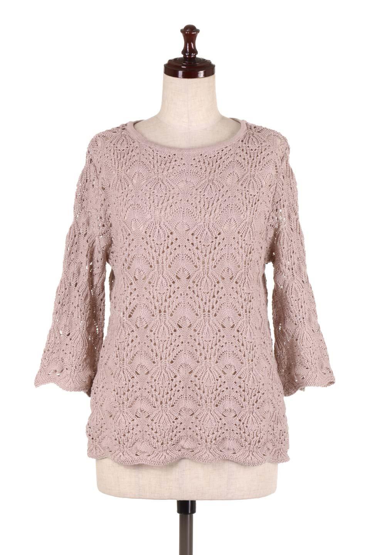 CrochetKnitHalfSleevetopカギ編みニットトップス大人カジュアルに最適な海外ファッションのothers(その他インポートアイテム)のトップスやニット・セーター。春に着たいカギ編みニットのトップス。ゆるく編み込んだニットの透け感が涼しげで初夏まで着まわせそうなニットソー。/main-5