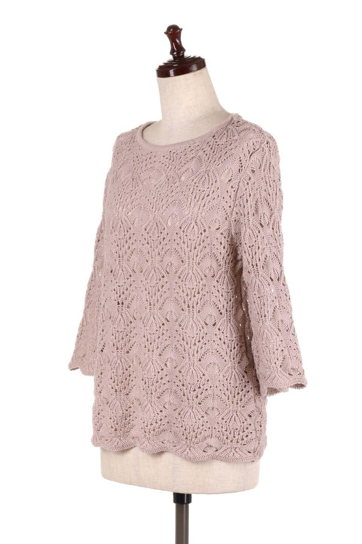 CrochetKnitHalfSleevetopカギ編みニットトップス大人カジュアルに最適な海外ファッションのothers(その他インポートアイテム)のトップスやニット・セーター。春に着たいカギ編みニットのトップス。ゆるく編み込んだニットの透け感が涼しげで初夏まで着まわせそうなニットソー。/main-6
