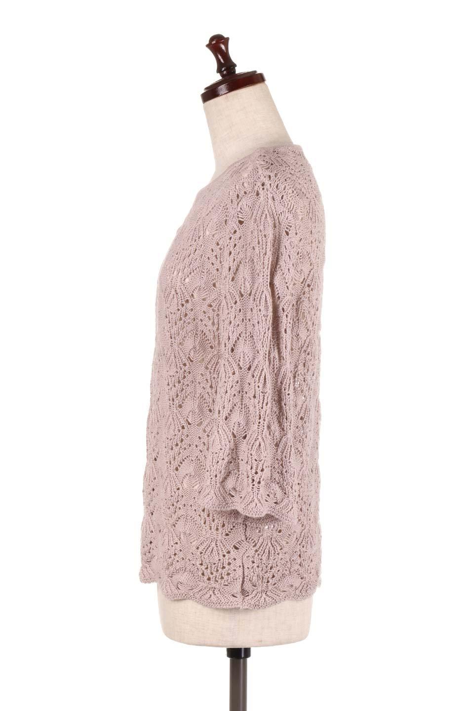 CrochetKnitHalfSleevetopカギ編みニットトップス大人カジュアルに最適な海外ファッションのothers(その他インポートアイテム)のトップスやニット・セーター。春に着たいカギ編みニットのトップス。ゆるく編み込んだニットの透け感が涼しげで初夏まで着まわせそうなニットソー。/main-7