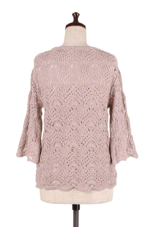 CrochetKnitHalfSleevetopカギ編みニットトップス大人カジュアルに最適な海外ファッションのothers(その他インポートアイテム)のトップスやニット・セーター。春に着たいカギ編みニットのトップス。ゆるく編み込んだニットの透け感が涼しげで初夏まで着まわせそうなニットソー。/main-9