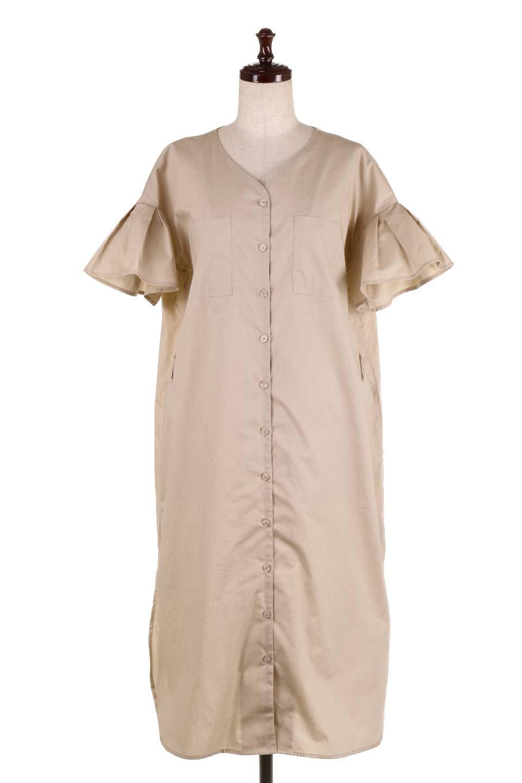 FlaredSleeveShirtDressフレアスリーブ・シャツワンピース大人カジュアルに最適な海外ファッションのothers(その他インポートアイテム)のワンピースやミディワンピース。ノーカラーブラウスをワンピにしたようなシャツブラウス。パリッとしてしっかりした生地で巣県はありません。/main-15