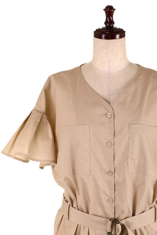 FlaredSleeveShirtDressフレアスリーブ・シャツワンピース大人カジュアルに最適な海外ファッションのothers(その他インポートアイテム)のワンピースやミディワンピース。ノーカラーブラウスをワンピにしたようなシャツブラウス。パリッとしてしっかりした生地で巣県はありません。/main-20