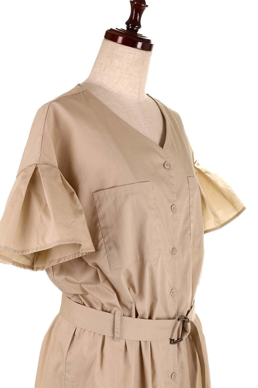 FlaredSleeveShirtDressフレアスリーブ・シャツワンピース大人カジュアルに最適な海外ファッションのothers(その他インポートアイテム)のワンピースやミディワンピース。ノーカラーブラウスをワンピにしたようなシャツブラウス。パリッとしてしっかりした生地で巣県はありません。/main-21