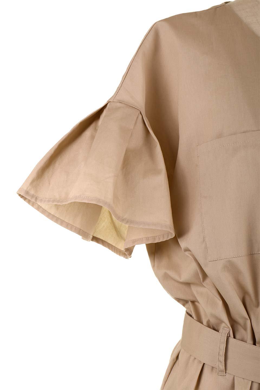 FlaredSleeveShirtDressフレアスリーブ・シャツワンピース大人カジュアルに最適な海外ファッションのothers(その他インポートアイテム)のワンピースやミディワンピース。ノーカラーブラウスをワンピにしたようなシャツブラウス。パリッとしてしっかりした生地で巣県はありません。/main-23