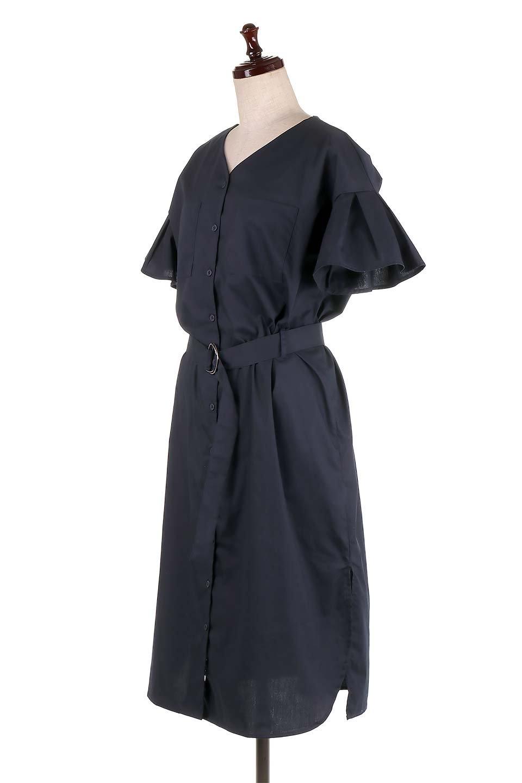 FlaredSleeveShirtDressフレアスリーブ・シャツワンピース大人カジュアルに最適な海外ファッションのothers(その他インポートアイテム)のワンピースやミディワンピース。ノーカラーブラウスをワンピにしたようなシャツブラウス。パリッとしてしっかりした生地で巣県はありません。/main-6