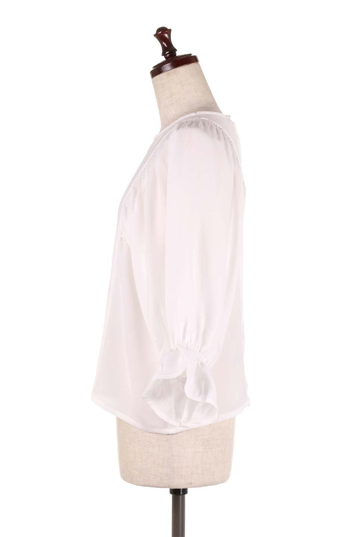 CandySleeveGatheredBlouseキャンディースリーブ・ギャザーブラウス大人カジュアルに最適な海外ファッションのothers(その他インポートアイテム)のトップスやシャツ・ブラウス。ギャザーでドレープ感を強調させたキャンディースリーブの7分袖ブラウス。ソフトなジョーゼット生地を2枚重ねた着心地の良いブラウスです。/main-7