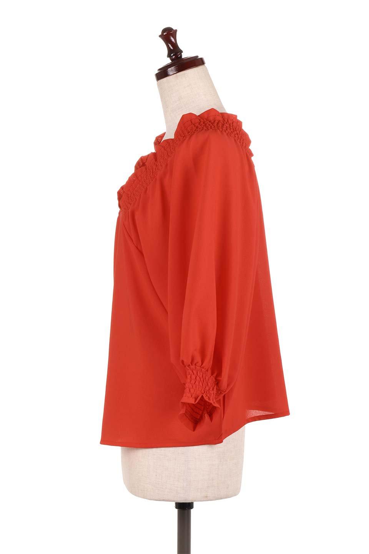 ShirredVNeckBalloonSleeveblouseバルーンスリーブブラウス大人カジュアルに最適な海外ファッションのothers(その他インポートアイテム)のトップスやシャツ・ブラウス。ドルマン風のゆったりとした袖が特徴の春ブラウス。背中から胸にかけてのシャーリングで動きやすいアイテムです。/main-12