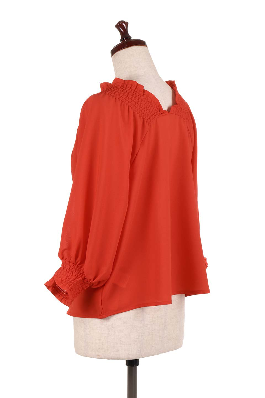 ShirredVNeckBalloonSleeveblouseバルーンスリーブブラウス大人カジュアルに最適な海外ファッションのothers(その他インポートアイテム)のトップスやシャツ・ブラウス。ドルマン風のゆったりとした袖が特徴の春ブラウス。背中から胸にかけてのシャーリングで動きやすいアイテムです。/main-13