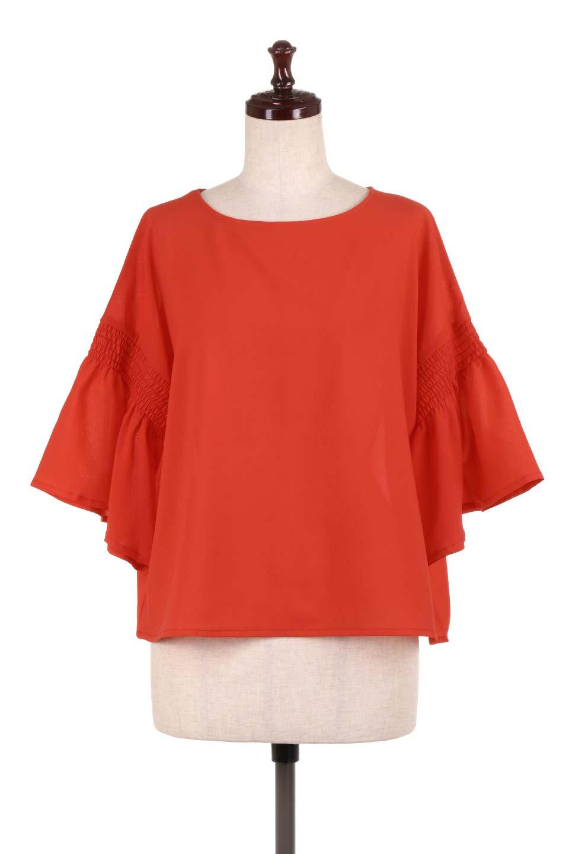 FlaredSleeveBlouseフレアスリーブ・シャーリングブラウス大人カジュアルに最適な海外ファッションのothers(その他インポートアイテム)のトップスやシャツ・ブラウス。ひらひらのフレアスリーブと透け感のある生地の春夏ブラウス。広がった袖口と絞りすぎないシャーリングがポイントのブラウスです。/main-10