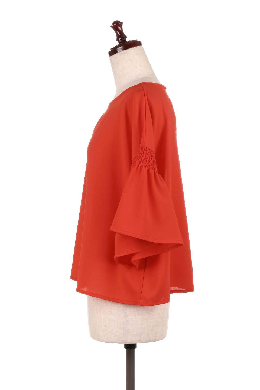 FlaredSleeveBlouseフレアスリーブ・シャーリングブラウス大人カジュアルに最適な海外ファッションのothers(その他インポートアイテム)のトップスやシャツ・ブラウス。ひらひらのフレアスリーブと透け感のある生地の春夏ブラウス。広がった袖口と絞りすぎないシャーリングがポイントのブラウスです。/main-12