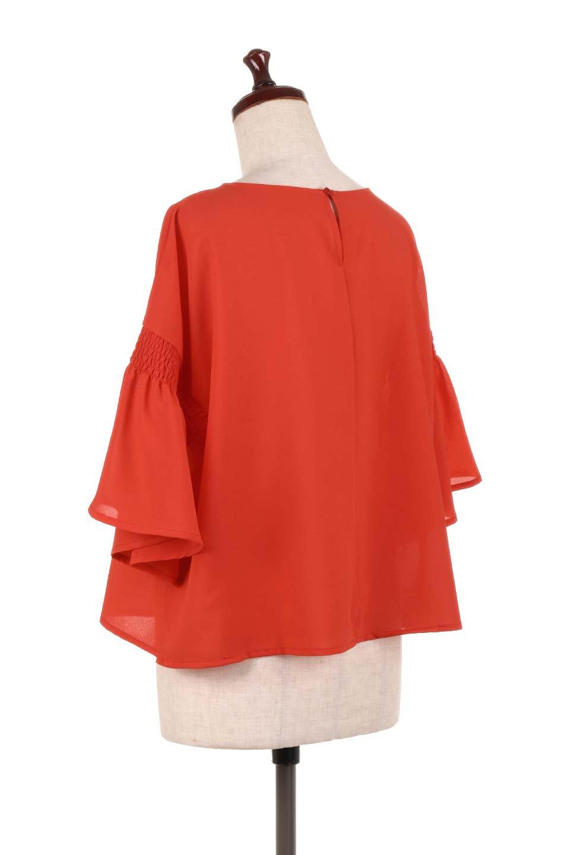 FlaredSleeveBlouseフレアスリーブ・シャーリングブラウス大人カジュアルに最適な海外ファッションのothers(その他インポートアイテム)のトップスやシャツ・ブラウス。ひらひらのフレアスリーブと透け感のある生地の春夏ブラウス。広がった袖口と絞りすぎないシャーリングがポイントのブラウスです。/main-13