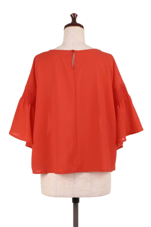 FlaredSleeveBlouseフレアスリーブ・シャーリングブラウス大人カジュアルに最適な海外ファッションのothers(その他インポートアイテム)のトップスやシャツ・ブラウス。ひらひらのフレアスリーブと透け感のある生地の春夏ブラウス。広がった袖口と絞りすぎないシャーリングがポイントのブラウスです。/main-14