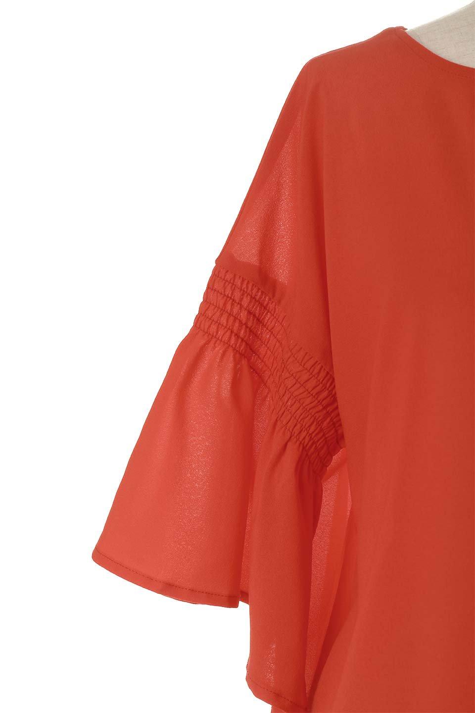 FlaredSleeveBlouseフレアスリーブ・シャーリングブラウス大人カジュアルに最適な海外ファッションのothers(その他インポートアイテム)のトップスやシャツ・ブラウス。ひらひらのフレアスリーブと透け感のある生地の春夏ブラウス。広がった袖口と絞りすぎないシャーリングがポイントのブラウスです。/main-20
