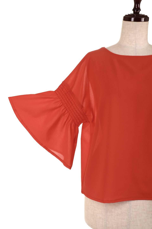 FlaredSleeveBlouseフレアスリーブ・シャーリングブラウス大人カジュアルに最適な海外ファッションのothers(その他インポートアイテム)のトップスやシャツ・ブラウス。ひらひらのフレアスリーブと透け感のある生地の春夏ブラウス。広がった袖口と絞りすぎないシャーリングがポイントのブラウスです。/main-21