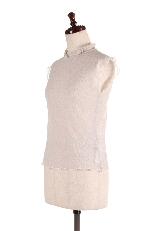 SleevelessLaceTopストレッチ・総レーストップス大人カジュアルに最適な海外ファッションのothers(その他インポートアイテム)のトップスやシャツ・ブラウス。襟元と袖口のフリルが可愛い総レースのトップス。レイヤードのコーデが楽しめる総レースのアイテム。/main-11