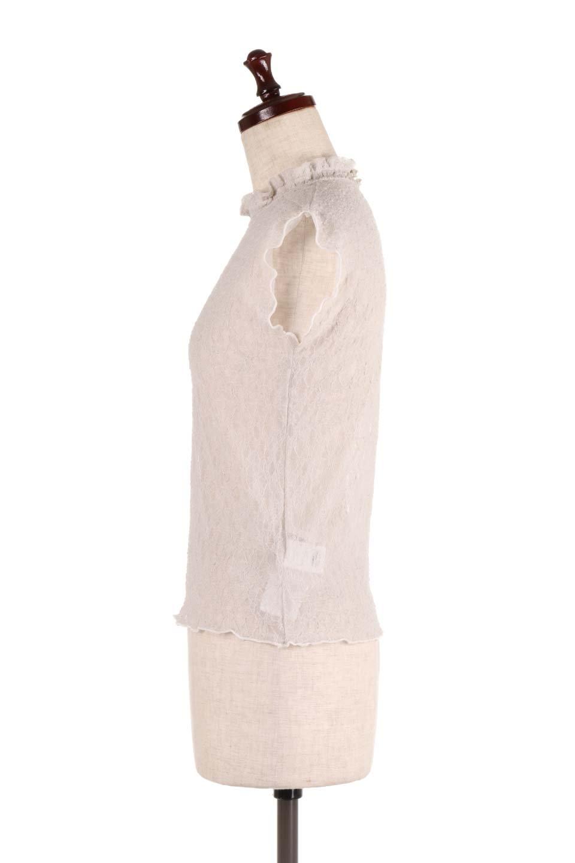 SleevelessLaceTopストレッチ・総レーストップス大人カジュアルに最適な海外ファッションのothers(その他インポートアイテム)のトップスやシャツ・ブラウス。襟元と袖口のフリルが可愛い総レースのトップス。レイヤードのコーデが楽しめる総レースのアイテム。/main-12